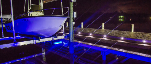Residential Boatlift at night