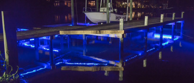Dock and boatlift at night
