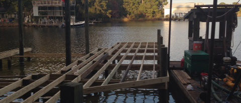 First Stages of Building a Boat Dock